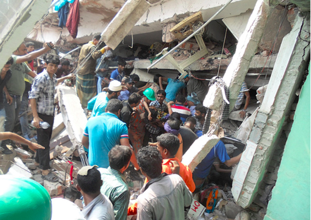 The rubble of the Rana Plaza building after it collapsed in 2013