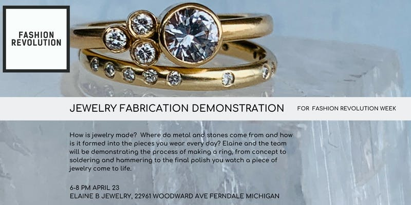 Jewelry Fabrication Demo at Elaine B Jewelry for Fashion Revolution Week