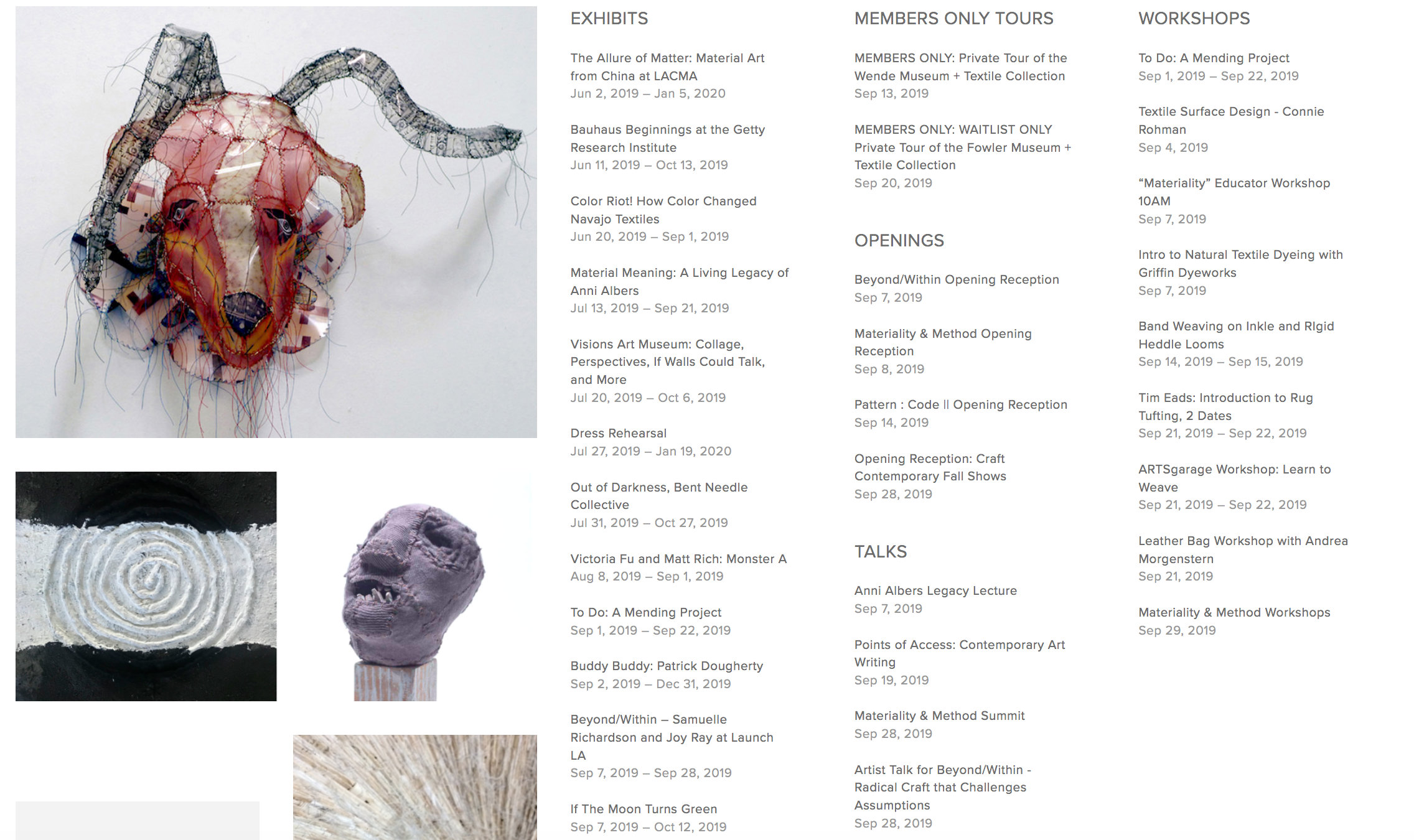 Textile Month Los Angeles 2019: Workshops, events and exhibitions